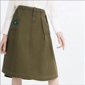 Zara A-Line Skirt- Army Green